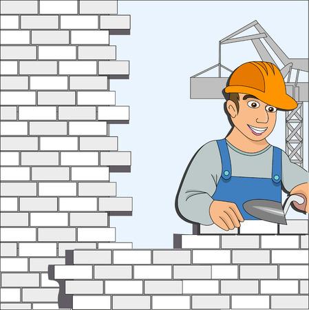 Bouwer met een bakstenen muur voor ontwerp