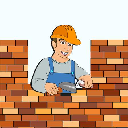 bouwer met een bakstenen muur voor ontwerp Vector Illustratie