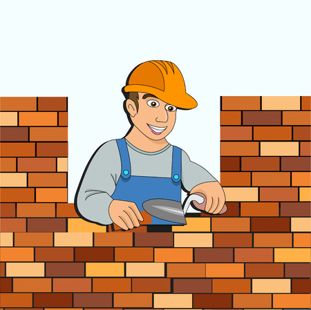 builder with a brick wall for design
