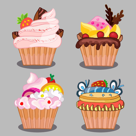 set of tasty cakes for design Illustration