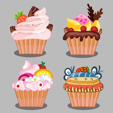 set of tasty cakes for design Illustration
