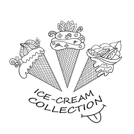 おいしい乳製品アイスクリームのコレクション  イラスト・ベクター素材