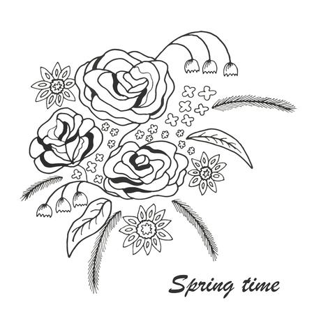 springtime: Springtime in a beautiful floral bouquet Illustration