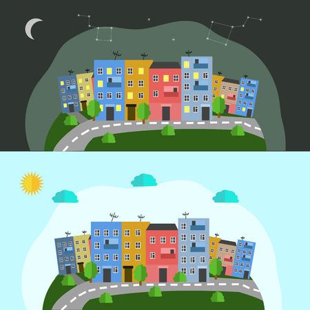 Schoonheid van de stad nacht en dag
