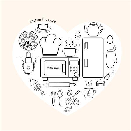 Icons of kitchen items to you Ilustração