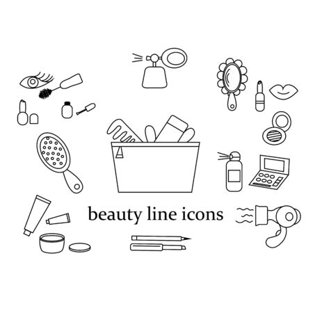 beauty salon many different icons
