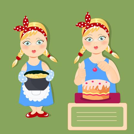 2 つの美しい女の子はおいしい料理します。