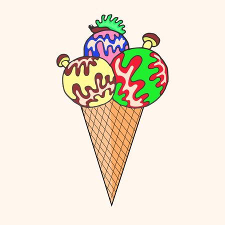 ice cream balls with hedgehog top Иллюстрация