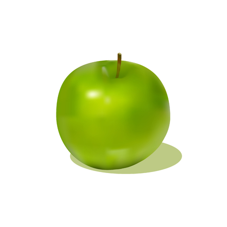 rich in vitamins: attractive green apple with shadow