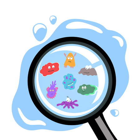 microbes in the water drop under the magnifier Illustration