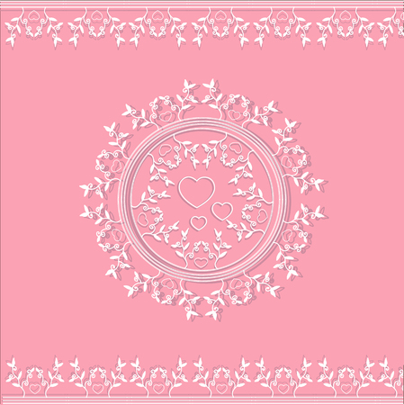 white lace with heart and leaves on a pink background . vector Vettoriali