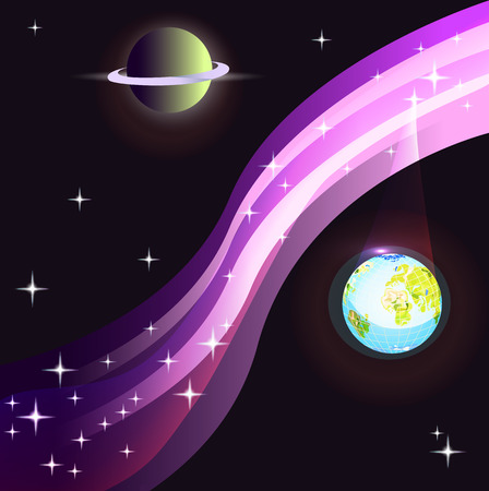 Milky Way, stars and two planets. vector