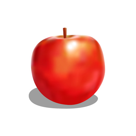 rich in vitamins: attractive red apple with shadow Illustration