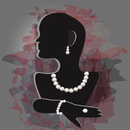 Stand for pearl jewelry on a creative background