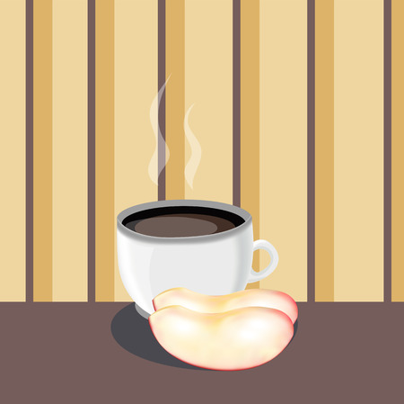 rich in vitamins: cup of tea with apple slices . vector