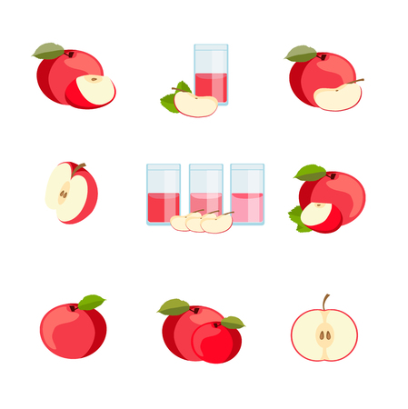 Set of ripe delicious apples. vector