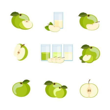 ripe: Set of ripe delicious apples. vector