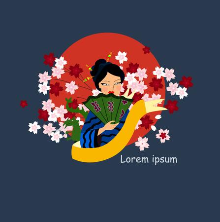 japan with Sakura , a Japanese woman and the dragon