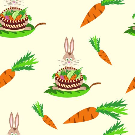 seamless pattern with rabbit and vegetables : carrots , beets and cabbage