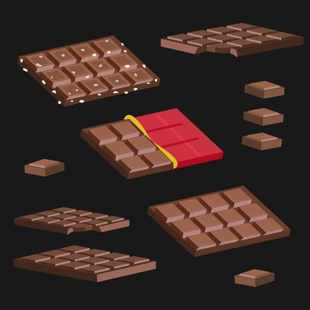 Ensemble de barres de chocolat sur fond noir Banque d'images - 69005574