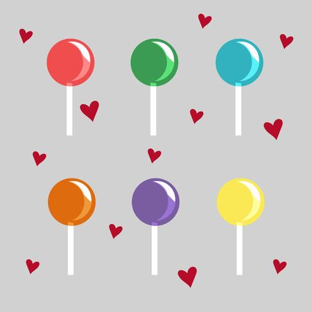 sweetstuff: set of colored candies delicious Illustration