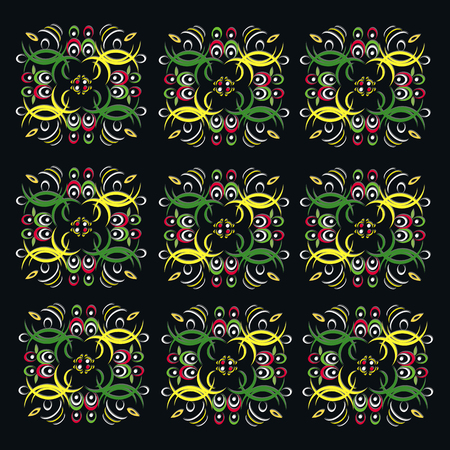 beautiful vintage colorful pattern on a black background