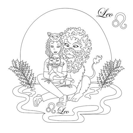 leo zodiac sign as a beautiful girl Illustration