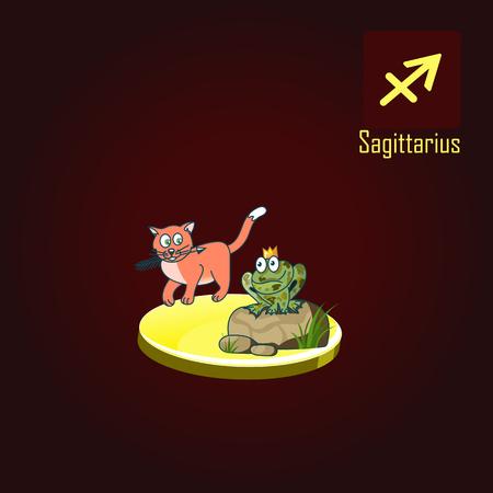 Sagittarius zodiac sign in the form of cute cat