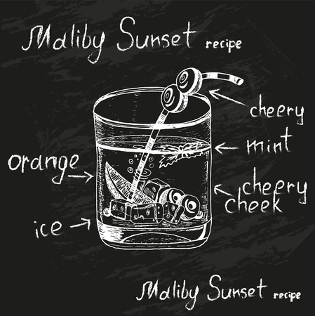 Sunset Malibu cocktail drawn in chalk with the recipe