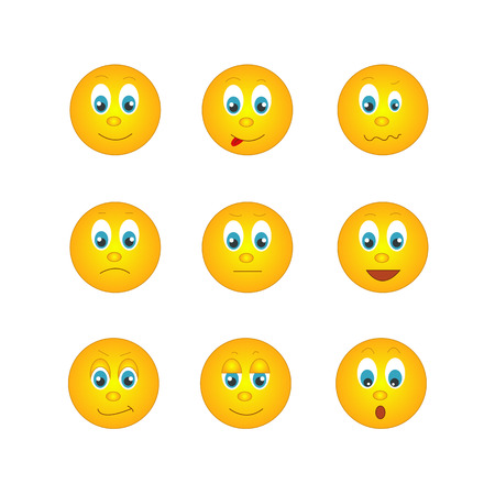 several round yellow emoticons with different emotions Illustration