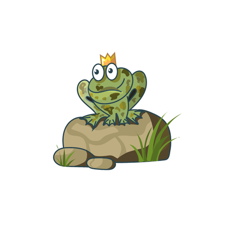 frog in love: Princess Frog on a rock waiting for love