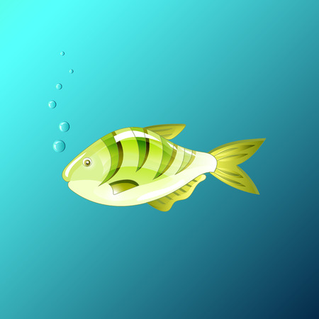 crucian carp: Beautiful fish under the water in the game style Illustration