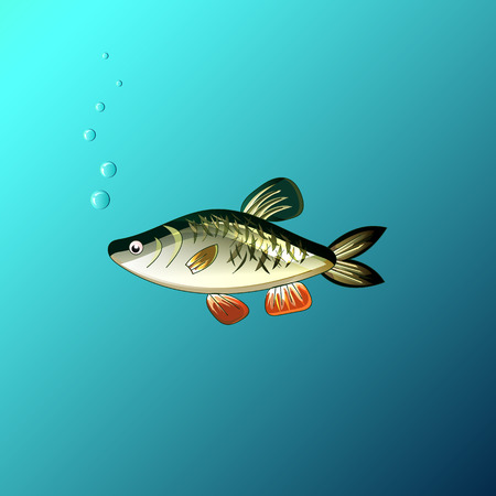 Beautiful fish under the water in the game style Illustration