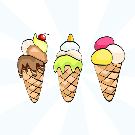 collection of delicious dairy ice cream