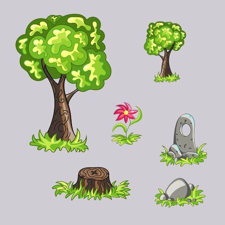 The tree , a flower, a tree stump , and two stones . Beautiful game objects .