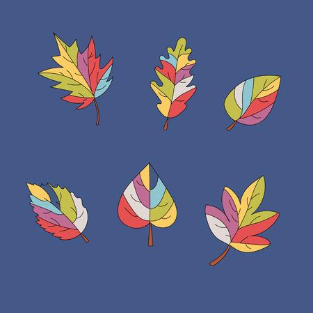 a set of multi-colored leaves on a blue background . autumn vector Ilustração
