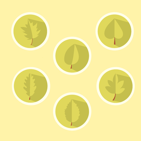 set of beautiful leaves in the style of flat for design, simple forms of two-dimensional image Ilustração
