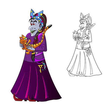 Halloween . Witch with a cat . It can be used for a childrens coloring