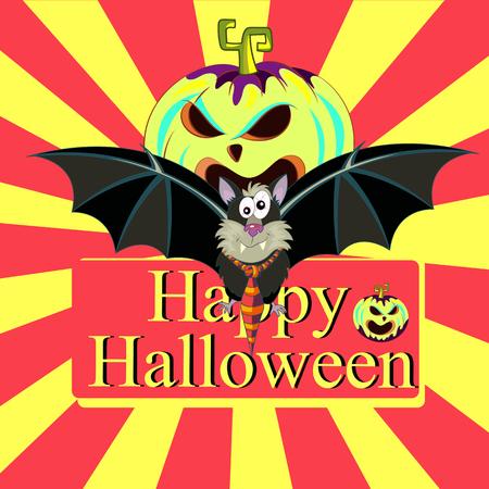 card with bat and pumpkin fun. Halloween