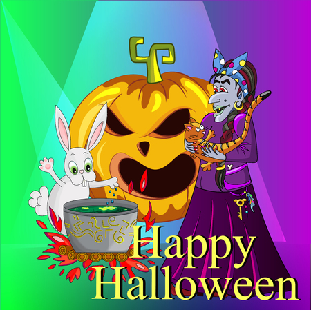 Witch with a cat and a rabbit magic potion brewed. pumpkin sinister laugh. card for Halloween