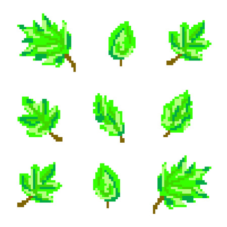 set of green leaves in the style of pixel art