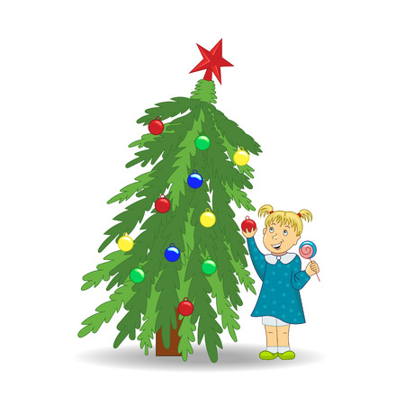 rejoicing: Girl and Christmas tree. Happy New Year and Christmas. New Year card. - Stock Vector.