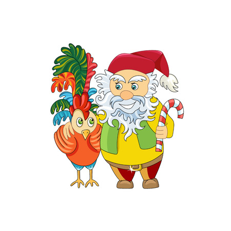 Christmas gnome and his friend Rooster - a symbol of 2017. New Year card. Happy New Year and Christmas.- Stock Vector.