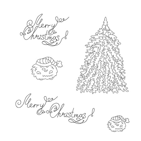 Happy New Year and Christmas. Two signatures, christmas tree and dwarf in a linear style. Decorative elements.- Stock Vector.