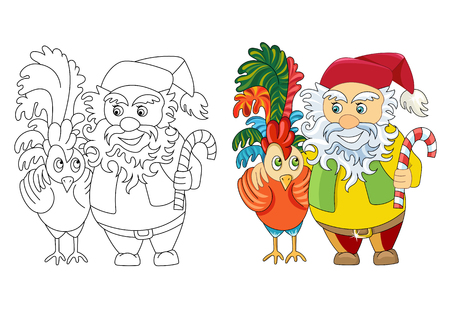 Dwarf and a rooster. Coloring for children. Happy New Year and Christmas. - Stock Vector.