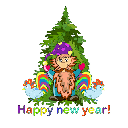 Dwarf, green Christmas tree and two roosters. Happy New Year and Christmas. New Year card.- Stock Vector. Illustration
