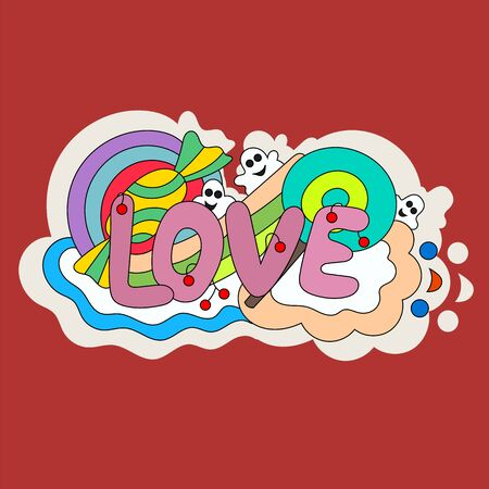 Pattern candy, lollipop, berries, text and ghosts. Pure love. Doodle. - Stock vector