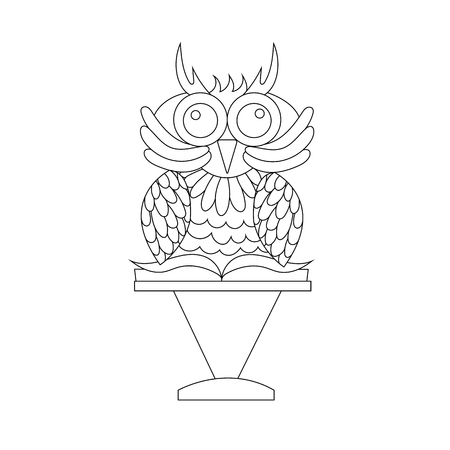 Wise owl with a book on a stand. Line. - Stock Vector Illustration