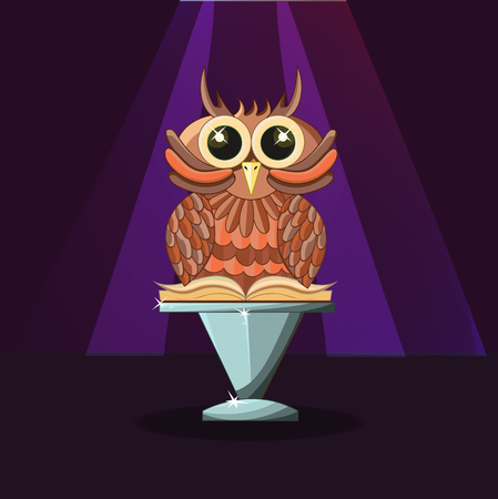 Wise owl with a book on the purple background. Magic and mystery. - Stock vector