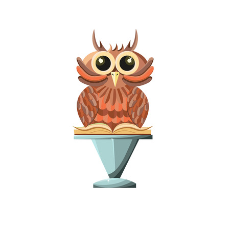 Wise owl with book on a stone pedestal. Game style. - Stock vector